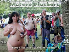 Huge archive of mature amateurs flashing nude in a public places